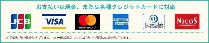 各種クレジットカード使用可能です。